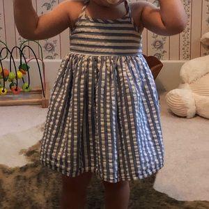 Baby girl blue and white pinstripe summer dress
